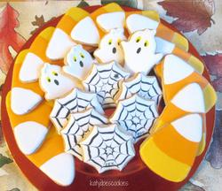 Candy corn, ghosts and spider webs