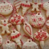 beige and red christmas ornaments