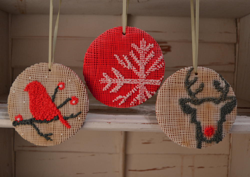 Modern Needlepoint Christmas Ornaments | Cookie Connection