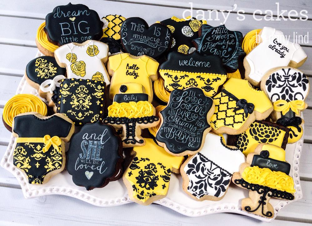 Black Yellow Baby Shower By Dany S Cakes Cookie Connection