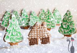 Ginger house in snowy forest