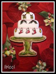 Christmas Cake with glass ornaments