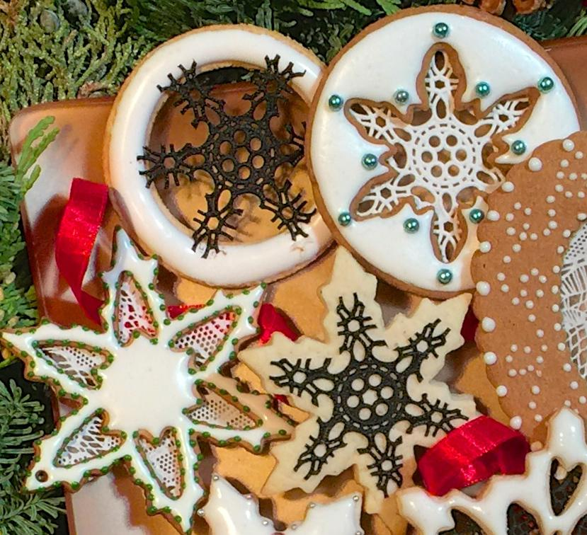 Sugarveil Lace Rose Mantilla Mat Snowflake Cookies