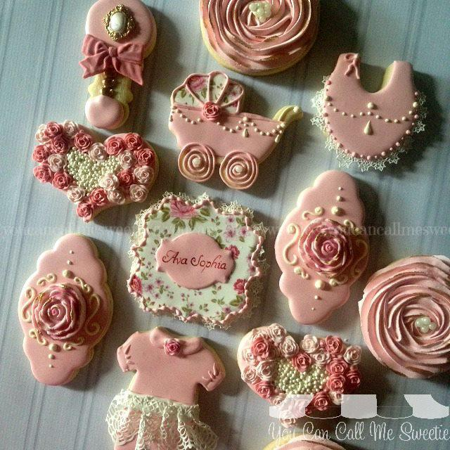 Roses Pearls And Lace Baby Shower Cookie Connection