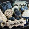 White Poppy & Navy Wedding Cookies