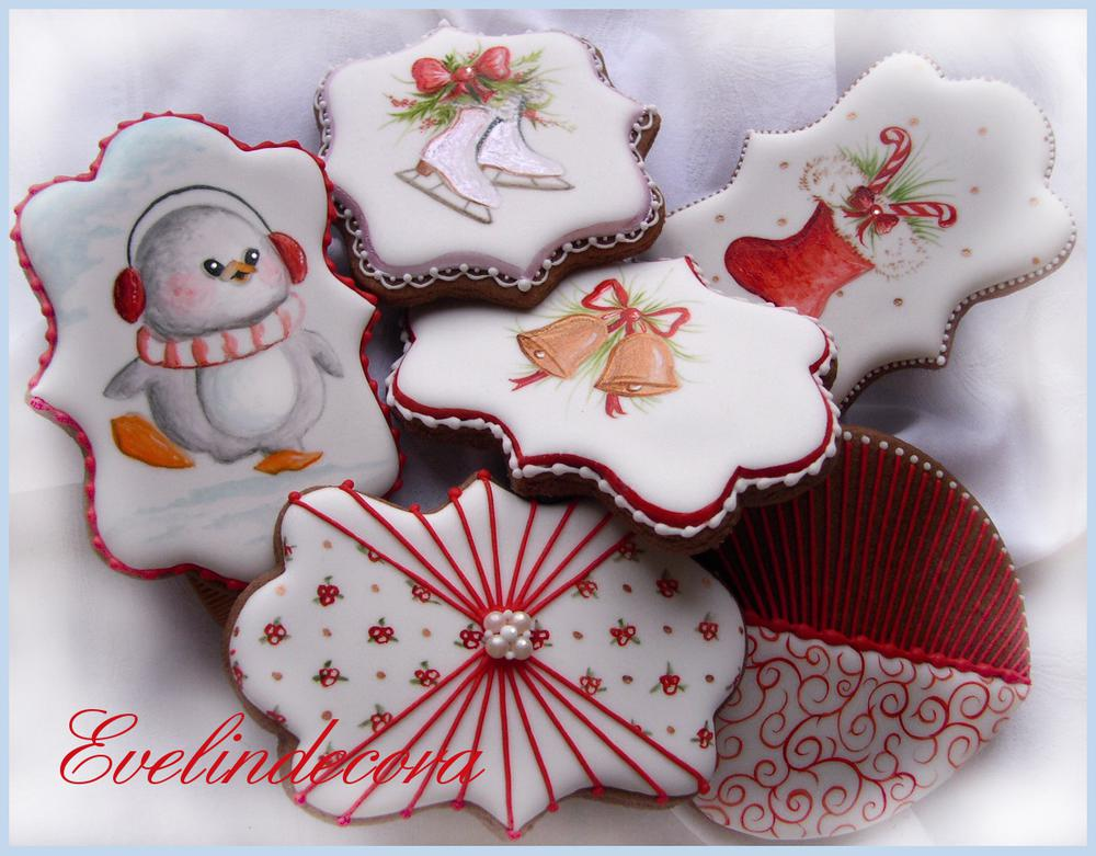 Christmas penguin,skates and bells cookies
