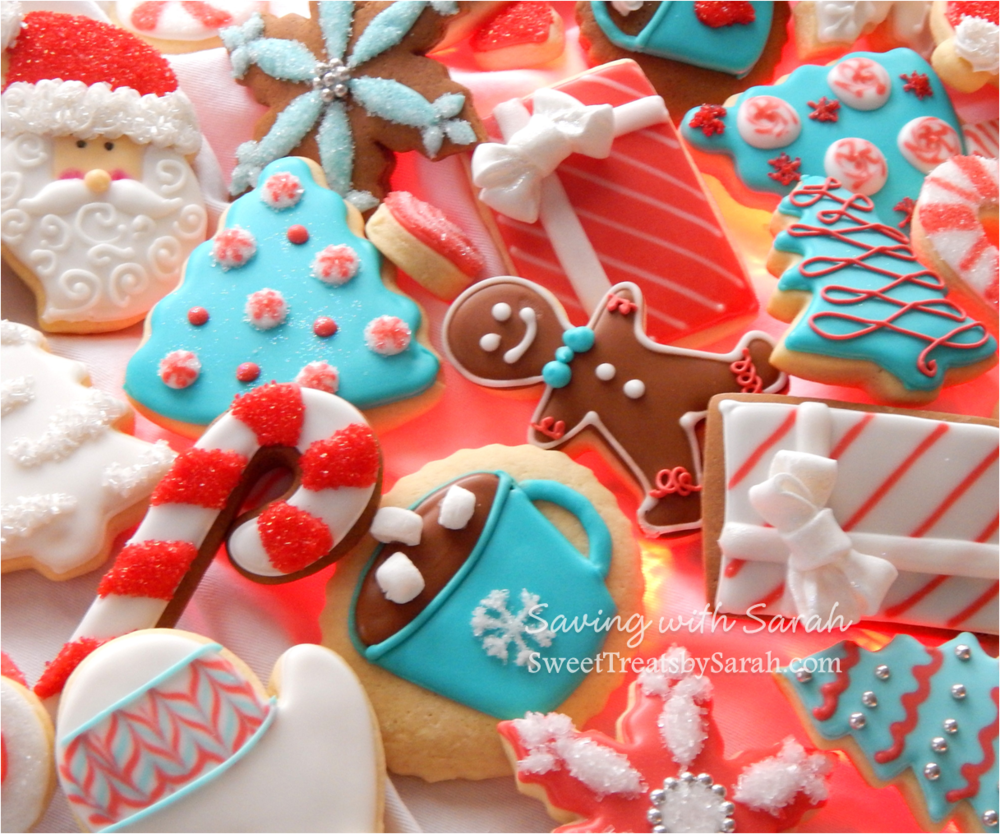 Teal Red And White Christmas Cookies Cookie Connection
