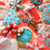 Teal, Red and White Christmas Cookies