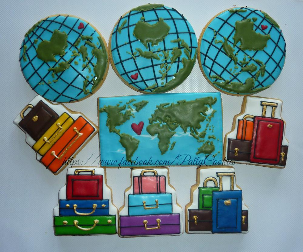 travel theme wedding cookies