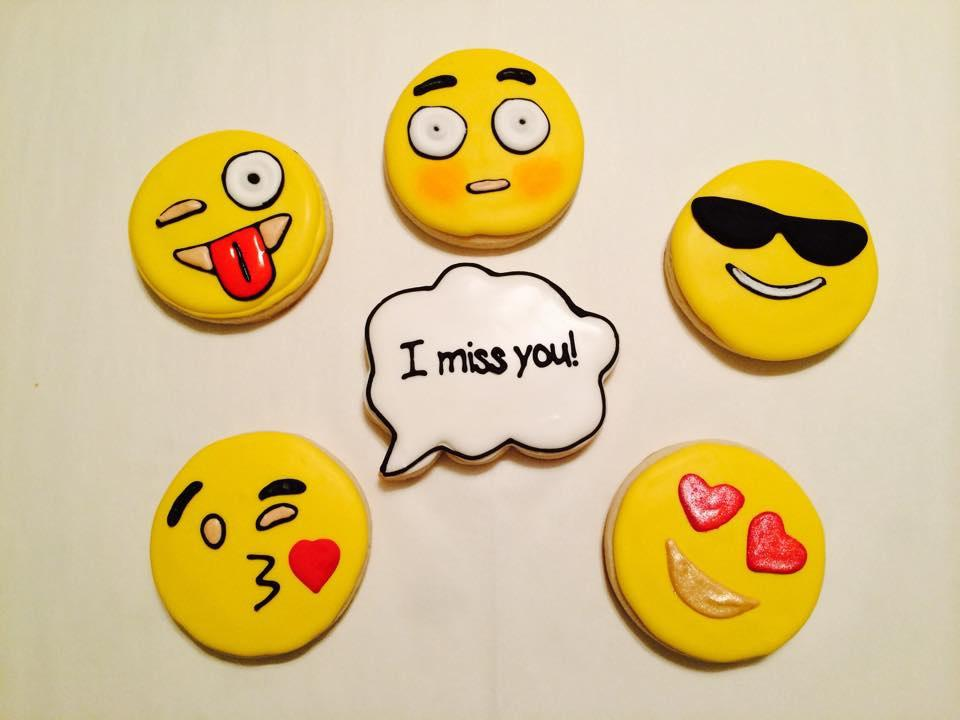 I Miss You Emoji Set Cookie Connection