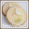 Stork baby shower cookie
