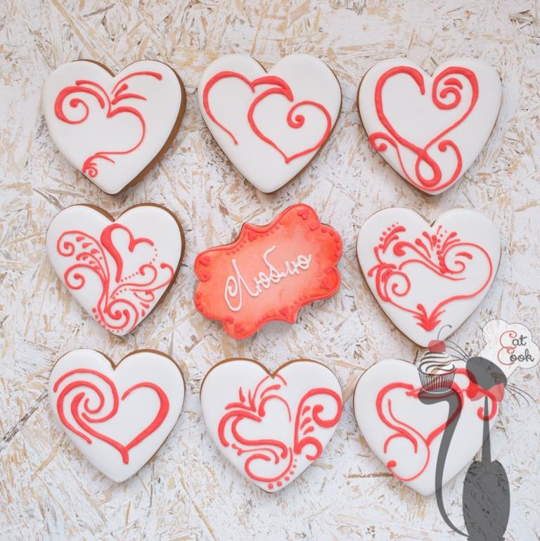 Valentine's day gingerbread cookie