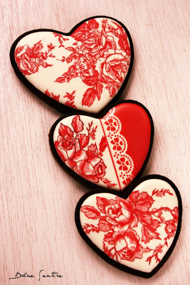 Valentine's Red Toile de Jouy Cookies