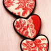 Valentine's Red Toile de Jouy Cookies