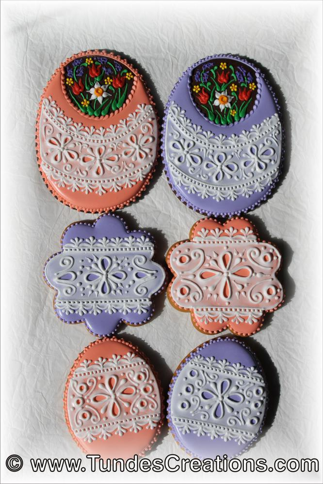Easter Cookies with White Lace Design