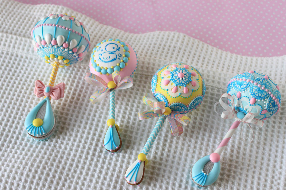 3-D Baby Rattle Cookies by Julia M Usher