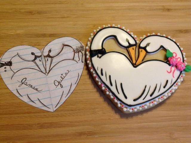 Swan Heart Cookie