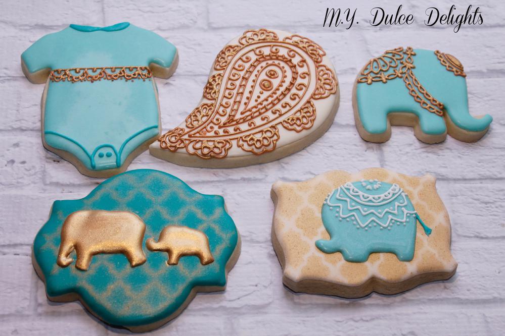 Henna baby shower cookies