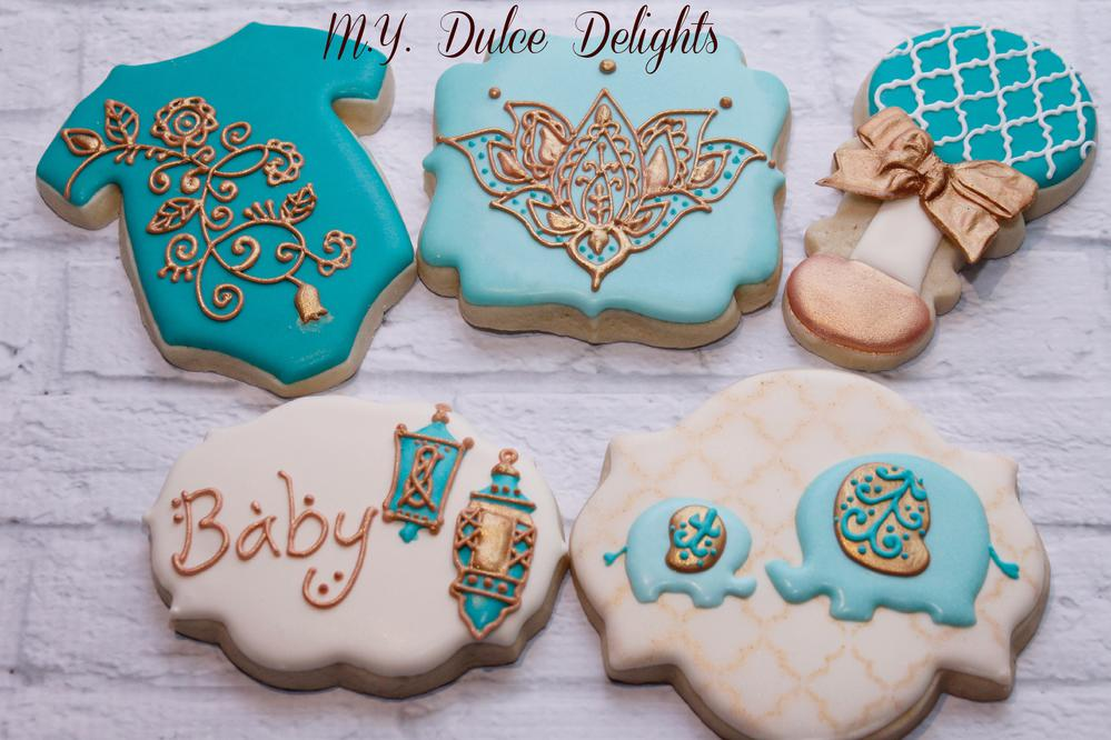 Henna baby shower cookies