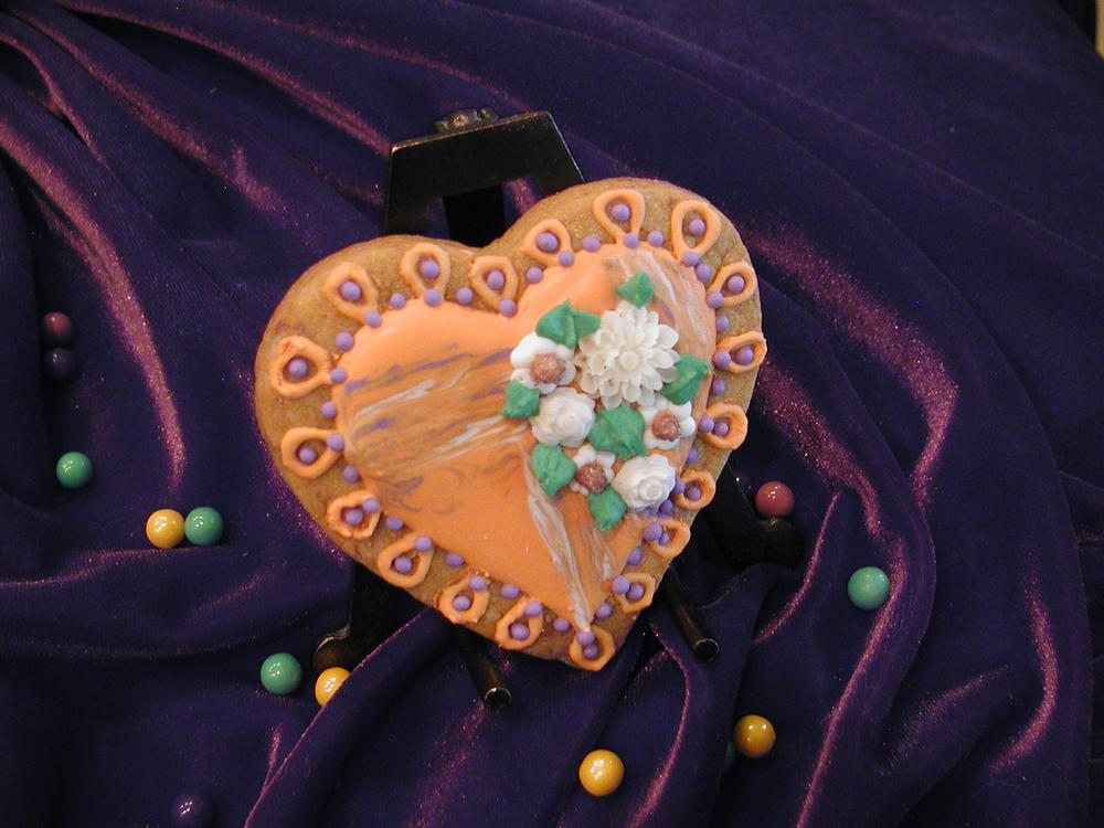 Orange and Purple Heart with Flowers