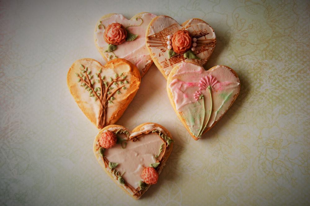 vintage heart cookies