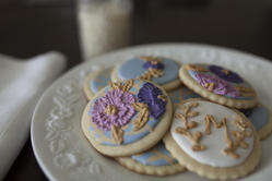 Brush Embroidery Baby Shower Cookies