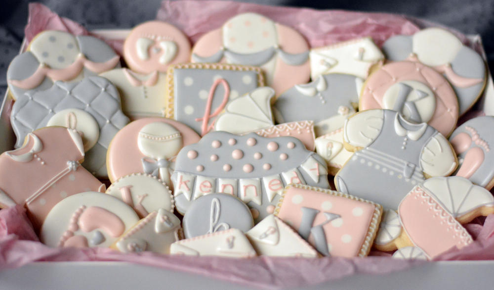 Sweet Pink Gray Baby Shower Cookies Cookie Connection