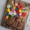 Bouquet of flowers in old shoe