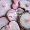 Pink glittered cookies