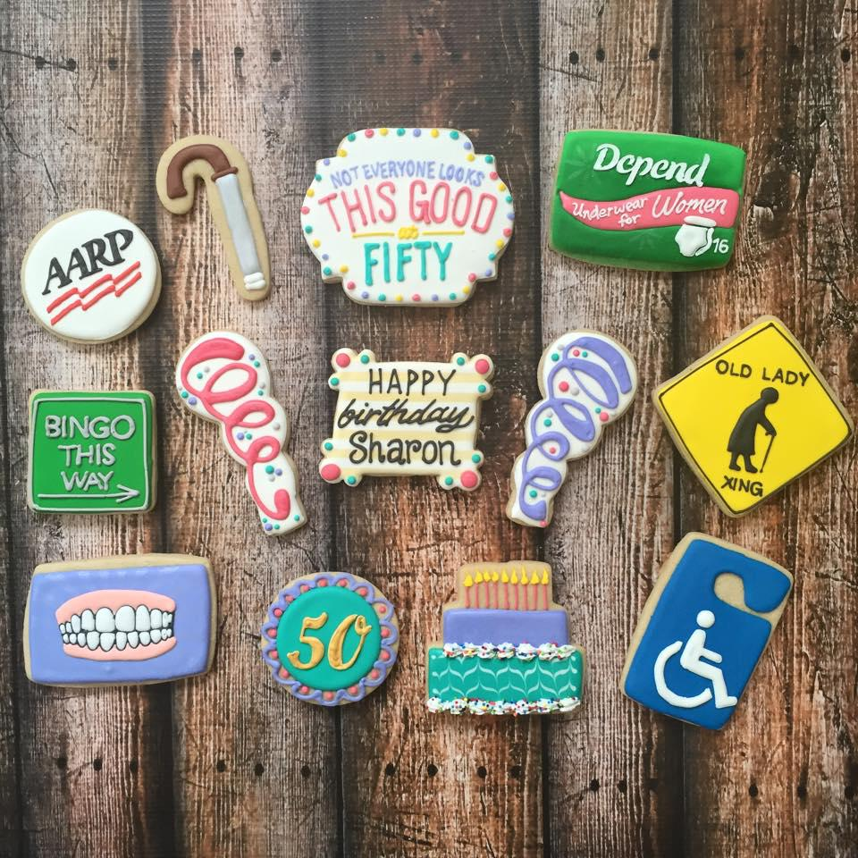 50th Birthday Party Cookies