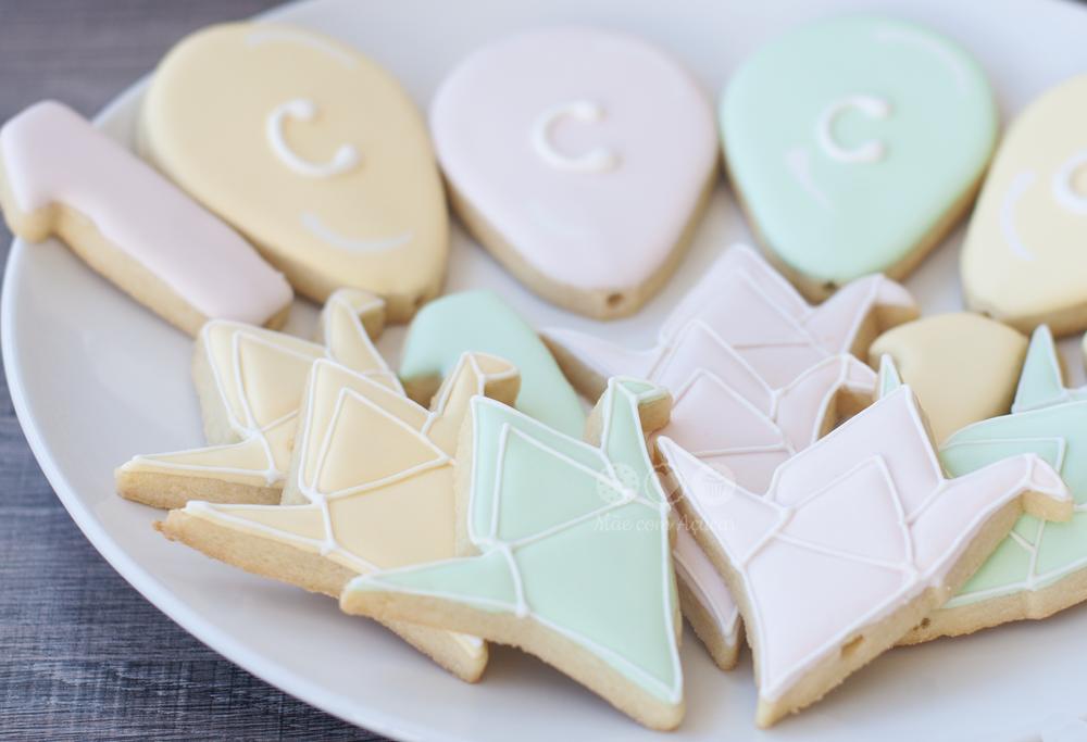 Origami Tsuru and Baloons Cookies