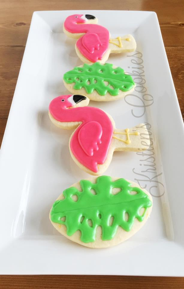 Flamingo and Palm Leaf Cookies