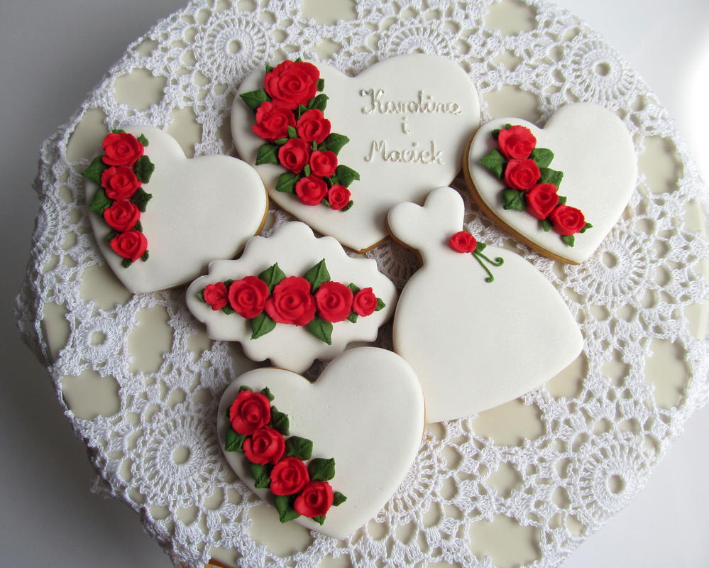 Wedding red rose cookie set