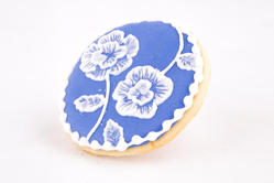 Blue and white brush embroidery