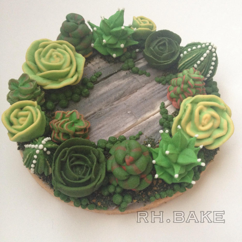 Succulents wreath cookie