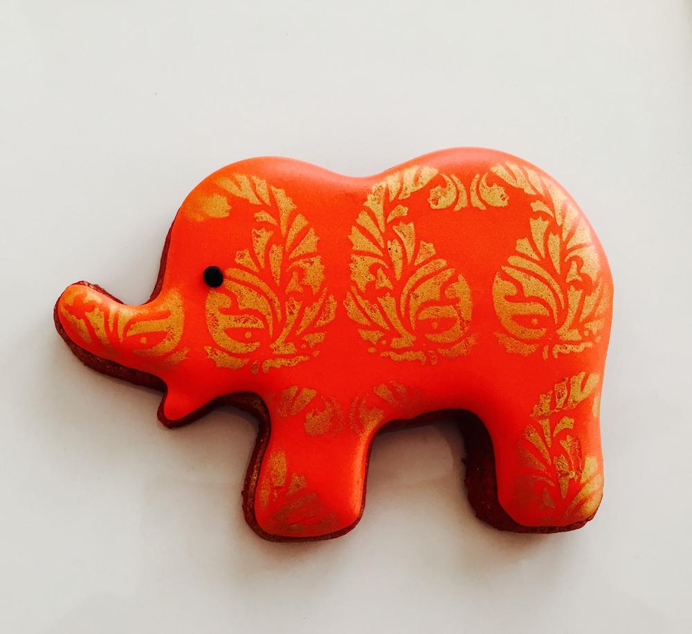 Red airbrushed elephant