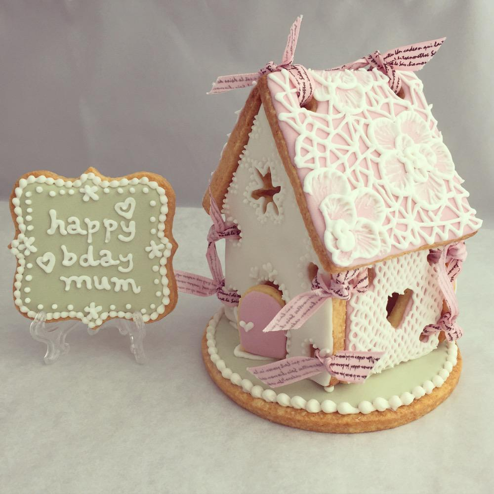 Delicate Icing Cookie Art - Cookie House with plaque cookie