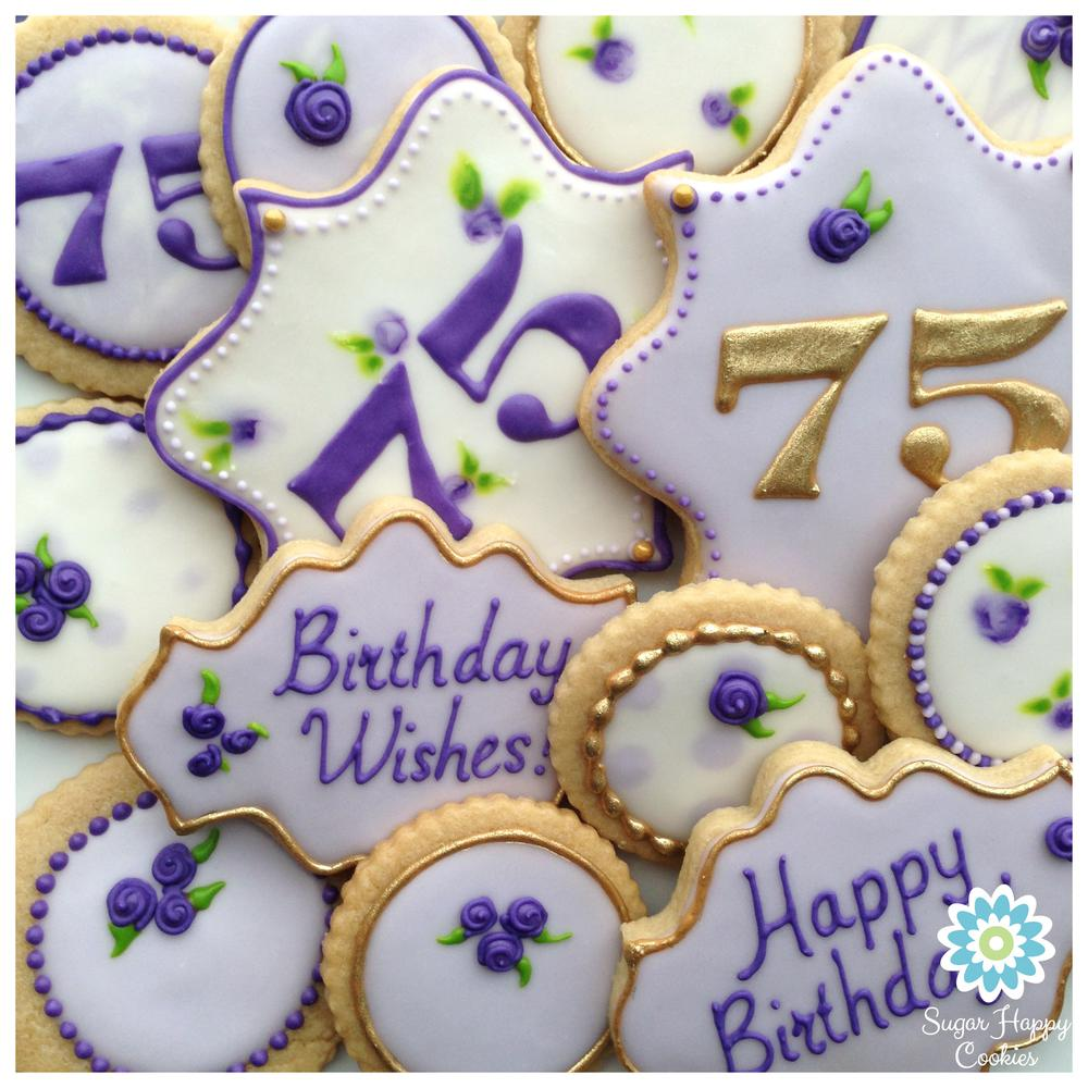 purple and gold 75th birthday sugarhappycookies com cookie connection