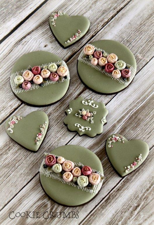 country shabby chic floral cookies