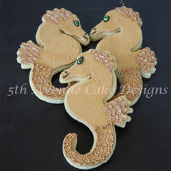 Cute Seahorse Cookies with Royal Icing Scales