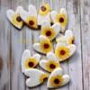Wedding shower hearts and handpainted sunflower cookies.