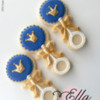 Classic Navy Blue and Gold Rattles