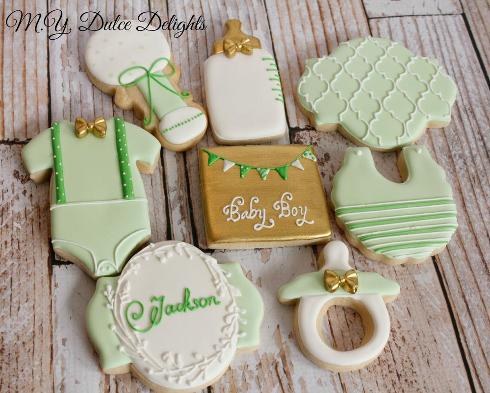 Mint and Gold Baby Shower cookies
