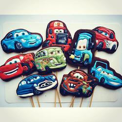 Cartoon Cars birthday cookies