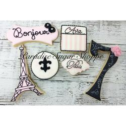 Parisian Themed girls birthday cookies