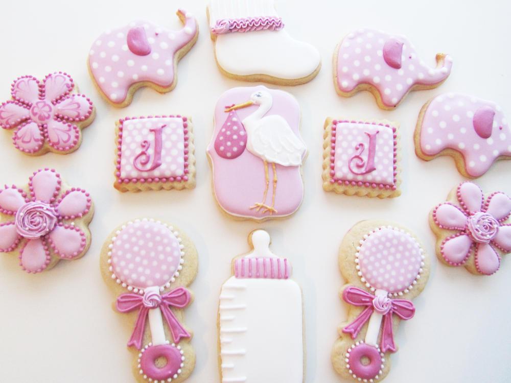 Pink/Maroon Babyshower Cookies