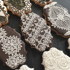 White-on-Brown lace cookies