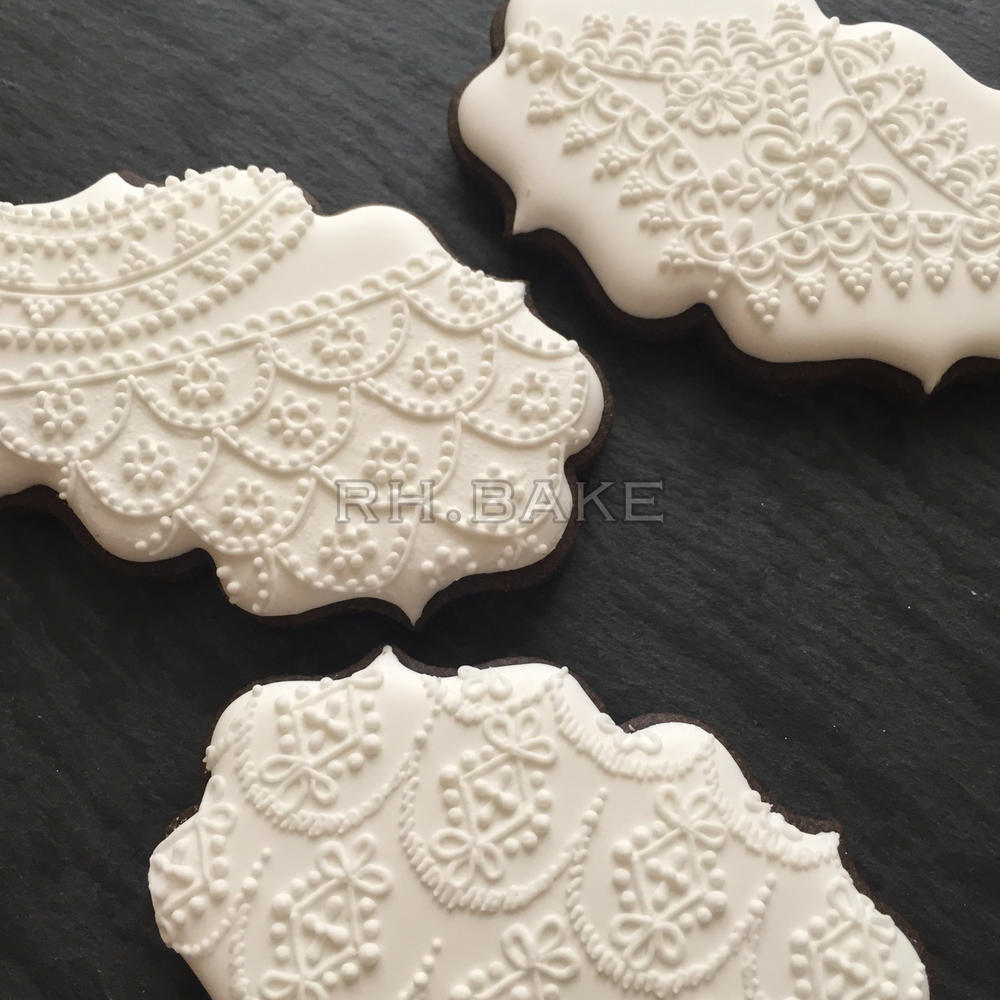 White on White lace cookies