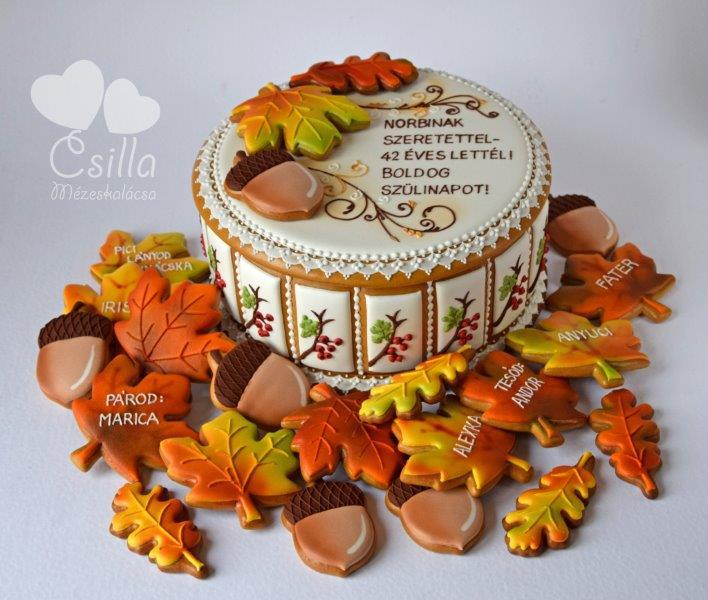 Autumn Gingerbread Box, with Leaves