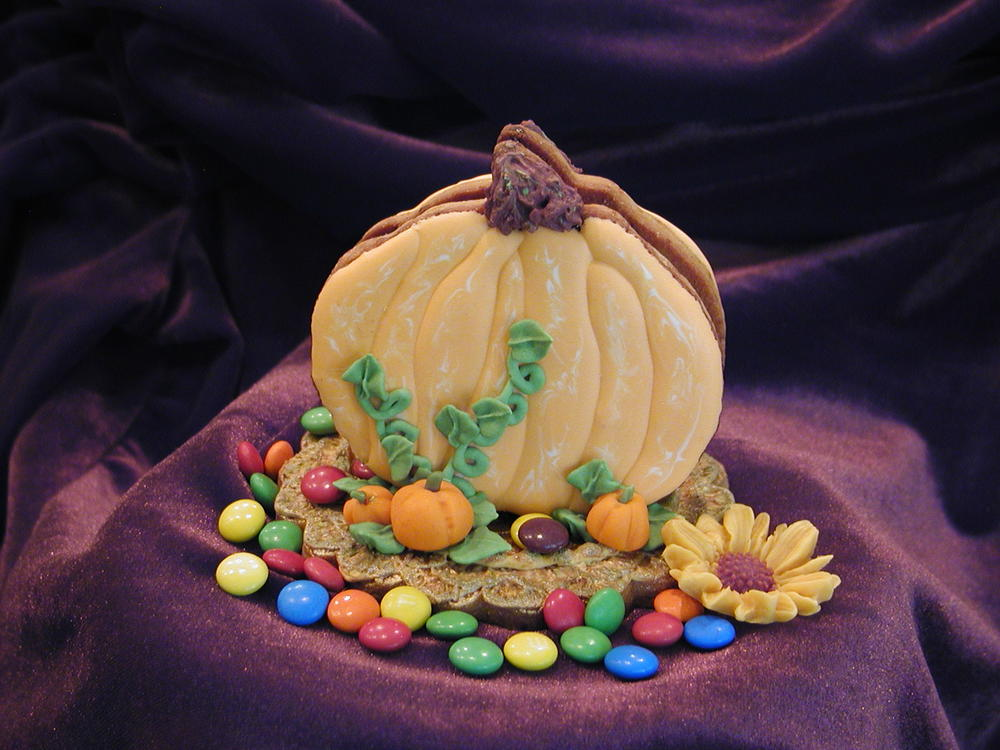 3-D Pumpkin on Embossed Cookie - filled with mini M&Ms---yummmmm